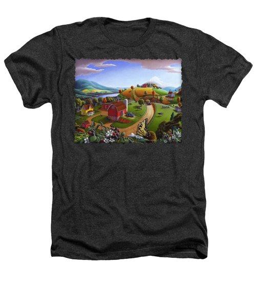 Folk Art Blackberry Patch Rural Country Farm Landscape Painting - Blackberries Rustic Americana Heathers T-Shirt by Walt Curlee