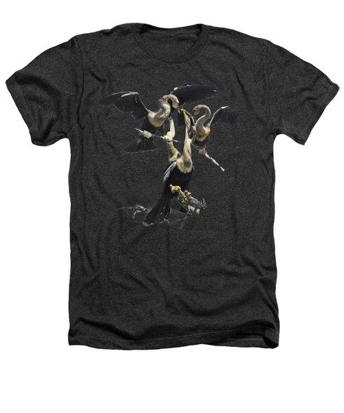 Anhinga Feeding Time Transparency Heathers T-Shirt by Richard Goldman