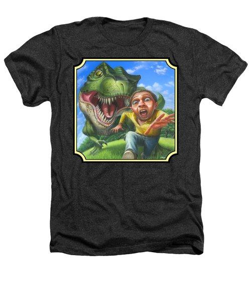 Tyrannosaurus Rex Jurassic Park Dinosaur - T Rex - T Rex - Extinct Predator - Square Format Heathers T-Shirt by Walt Curlee