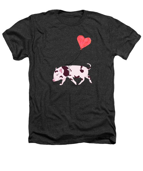 Baby Pig With Heart Balloon Heathers T-Shirt by Brigitte Carre