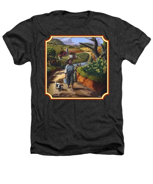 Boy And Dog Country Farm Life Landscape - Square Format Heathers T-Shirt by Walt Curlee