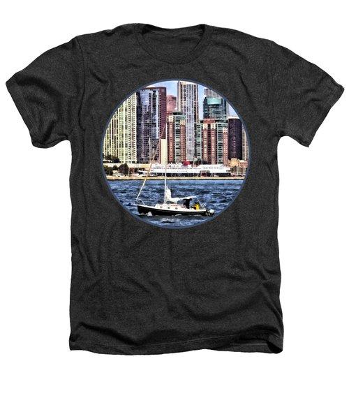 Chicago Il - Sailing On Lake Michigan Heathers T-Shirt by Susan Savad