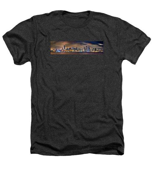 Chicago Skyline At Night Panorama Heathers T-Shirt by Jon Holiday