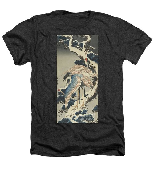 Cranes On Pine Heathers T-Shirt by Hokusai