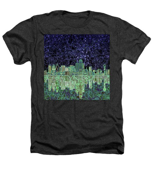 Dallas Skyline Abstract 4 Heathers T-Shirt by Bekim Art