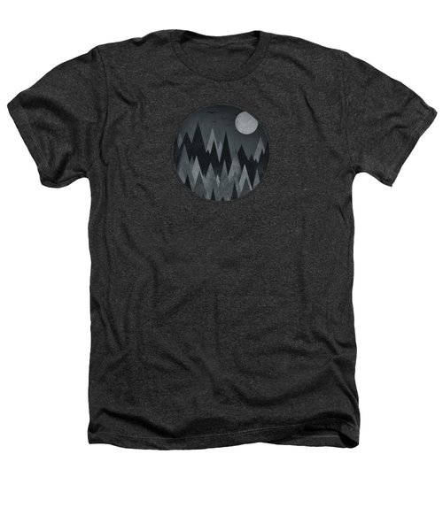 Dark Mystery Abstract Geometric Triangle Peak Woods Black And White Heathers T-Shirt by Philipp Rietz