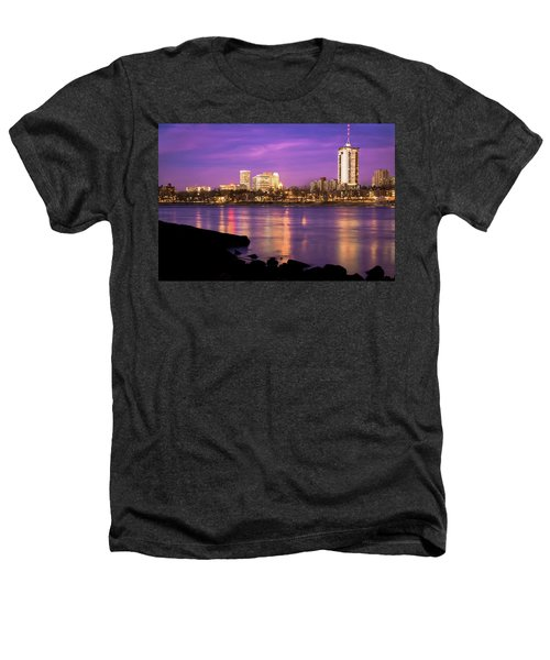 Downtown Tulsa Oklahoma - University Tower View - Purple Skies Heathers T-Shirt by Gregory Ballos