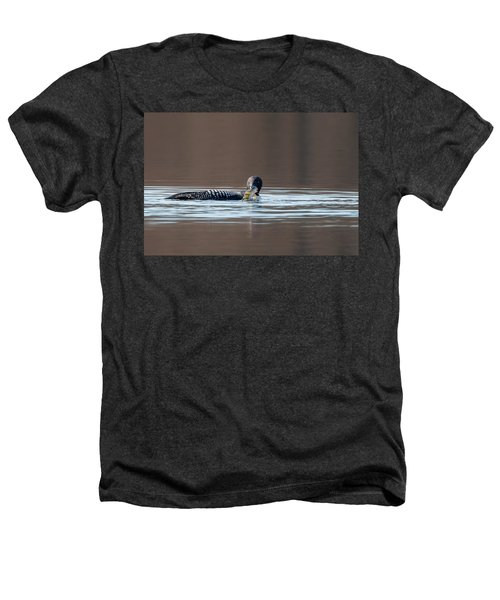 Feeding Common Loon Heathers T-Shirt by Bill Wakeley