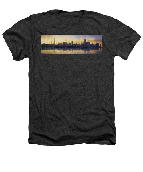 Fire In The Sky Chicago At Sunset Heathers T-Shirt by Scott Norris
