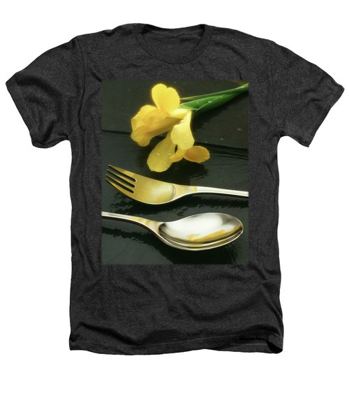 Flowers On Slate Heathers T-Shirt by Jon Delorme