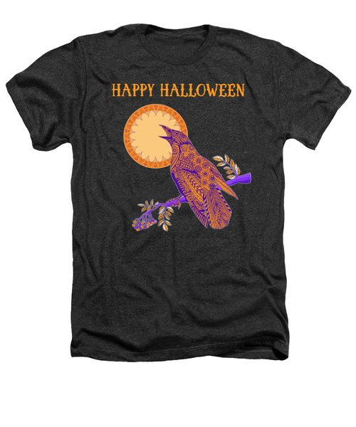 Halloween Crow And Moon Heathers T-Shirt by Tammy Wetzel