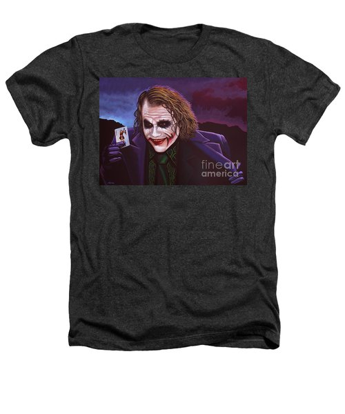 Heath Ledger As The Joker Painting Heathers T-Shirt by Paul Meijering