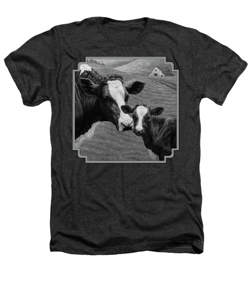 Holstein Cow Farm Black And White Heathers T-Shirt by Crista Forest