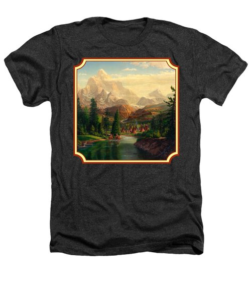 Indian Village Trapper Western Mountain Landscape Oil Painting - Native Americans -square Format Heathers T-Shirt by Walt Curlee