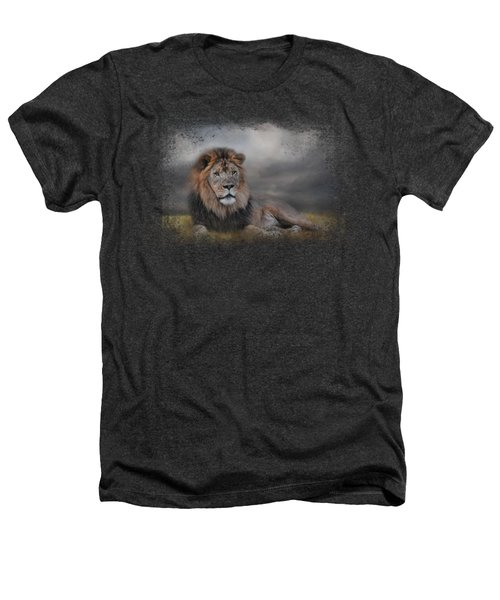 Lion Waiting For The Storm Heathers T-Shirt by Jai Johnson