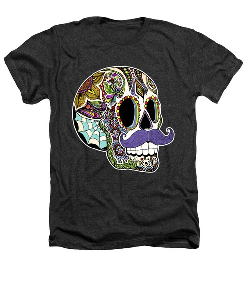 Mustache Sugar Skull Heathers T-Shirt by Tammy Wetzel