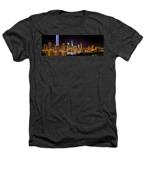 New York City Tribute In Lights And Lower Manhattan At Night Nyc Heathers T-Shirt by Jon Holiday