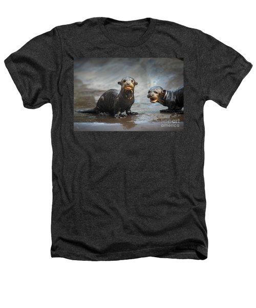 Otter Pup Pair Heathers T-Shirt by Jamie Pham