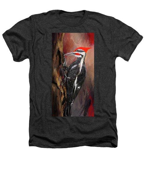 Pileated Woodpecker Art Heathers T-Shirt by Lourry Legarde
