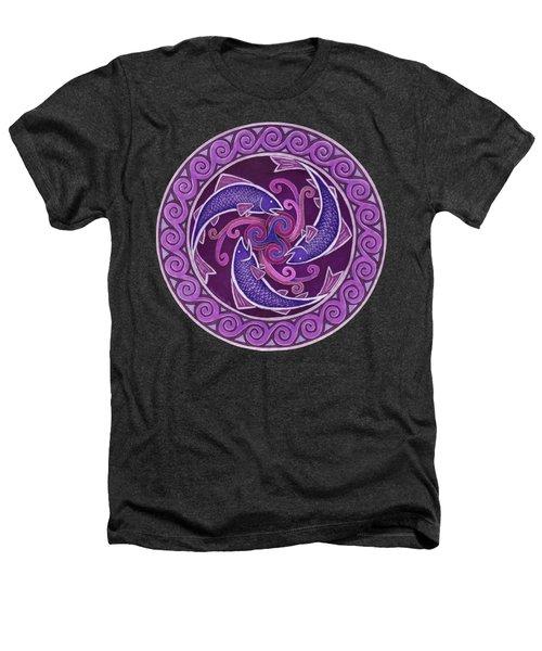 Purple Fish Spiral Mandala Heathers T-Shirt by Rebecca Wang