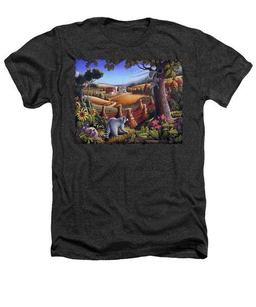 Rural Country Farm Life Landscape Folk Art Raccoon Squirrel Rustic Americana Scene  Heathers T-Shirt by Walt Curlee