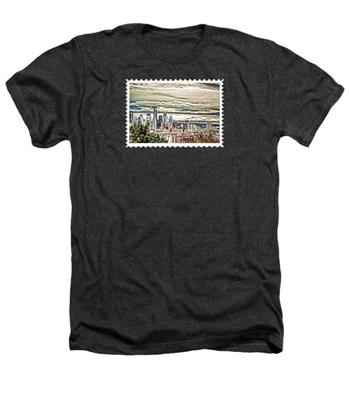 Seattle Skyline In Fog And Rain Heathers T-Shirt by Elaine Plesser