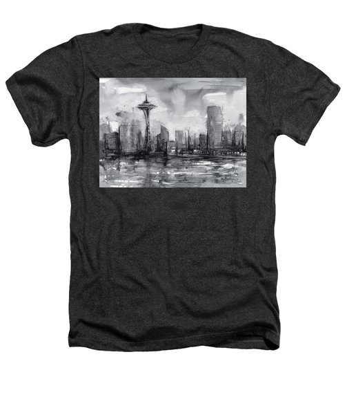 Seattle Skyline Painting Watercolor  Heathers T-Shirt by Olga Shvartsur