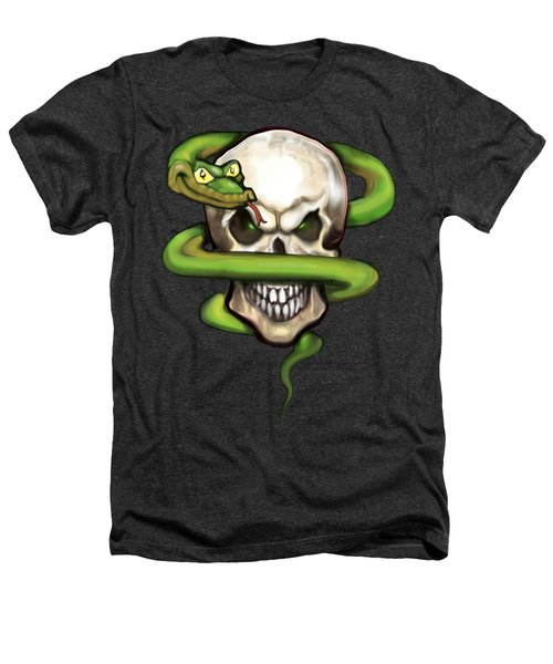 Serpent Evil Skull Heathers T-Shirt by Kevin Middleton