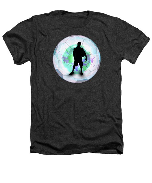 Soccer Player Posing With Ball Soccer Background Heathers T-Shirt by Elaine Plesser