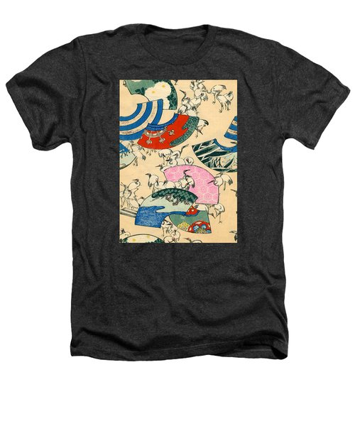 Vintage Japanese Illustration Of Fans And Cranes Heathers T-Shirt by Japanese School