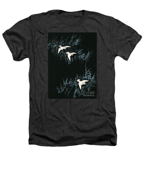 Vintage Japanese Illustration Of Three Cranes Flying In A Night Landscape Heathers T-Shirt by Japanese School