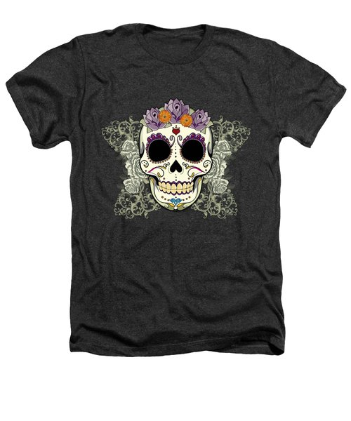 Vintage Sugar Skull And Flowers Heathers T-Shirt by Tammy Wetzel