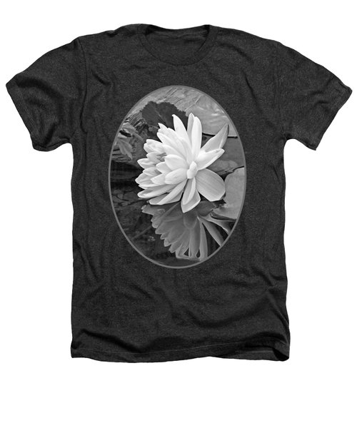 Water Lily Reflections In Black And White Heathers T-Shirt by Gill Billington