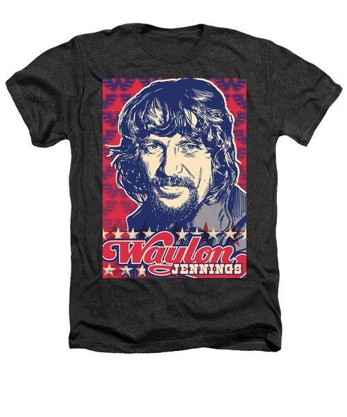 Waylon Jennings Pop Art Heathers T-Shirt by Jim Zahniser