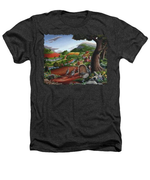 Wild Turkeys Appalachian Thanksgiving Landscape - Childhood Memories - Country Life - Americana Heathers T-Shirt by Walt Curlee