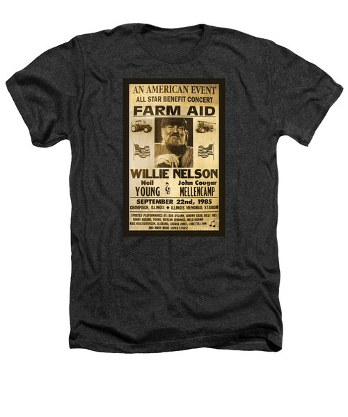 Willie Nelson Neil Young 1985 Farm Aid Poster Heathers T-Shirt by John Stephens