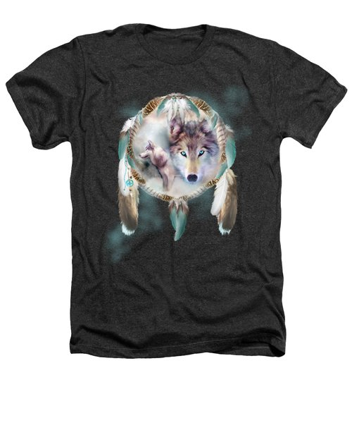 Wolf - Dreams Of Peace Heathers T-Shirt by Carol Cavalaris