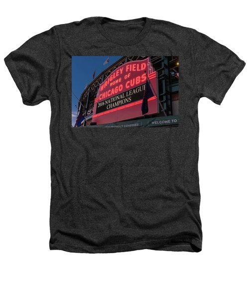Wrigley Field Marquee Cubs National League Champs 2016 Heathers T-Shirt by Steve Gadomski