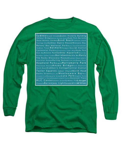 Sydney In Words Teal Long Sleeve T-Shirt by Sabine Jacobs