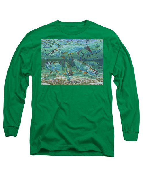 Tarpon Rolling In0025 Long Sleeve T-Shirt by Carey Chen