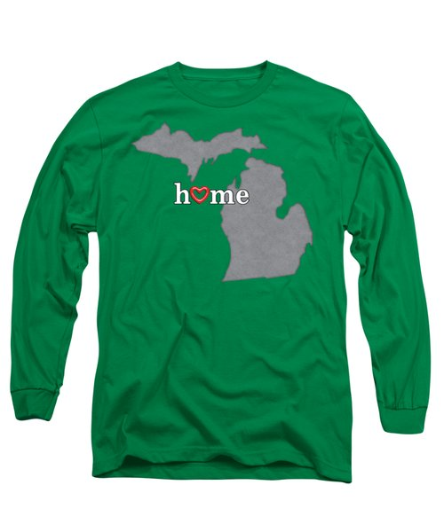 State Map Outline Michigan With Heart In Home Long Sleeve T-Shirt by Elaine Plesser