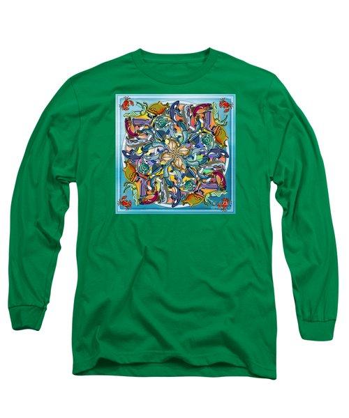 Mandala Fish Pool Long Sleeve T-Shirt by Bedros Awak