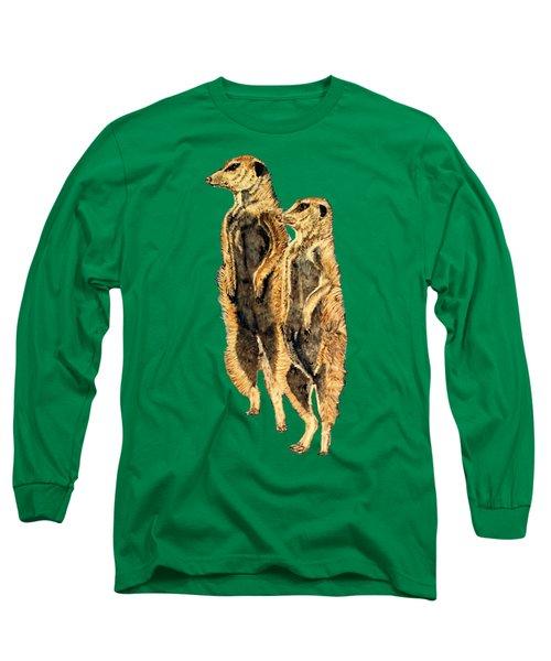 Meerkats Long Sleeve T-Shirt by Teresa  Peterson