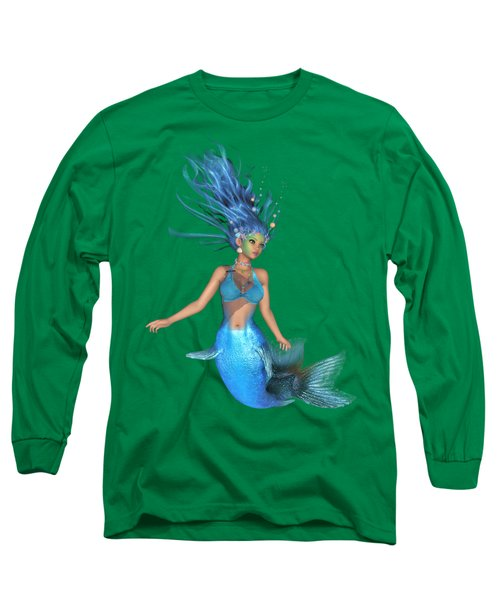 Mermaid Ruby Blue Long Sleeve T-Shirt by Diane Leenknegt