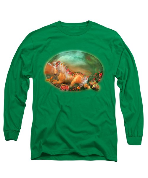 Unicorn Of The Roses Long Sleeve T-Shirt by Carol Cavalaris