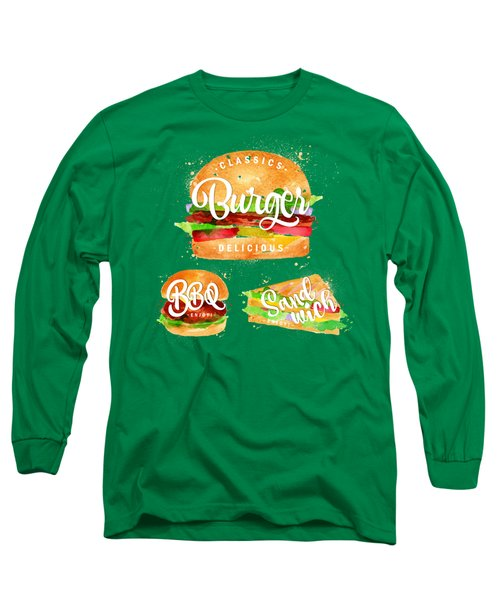 Vintage Burger Long Sleeve T-Shirt by Aloke Design