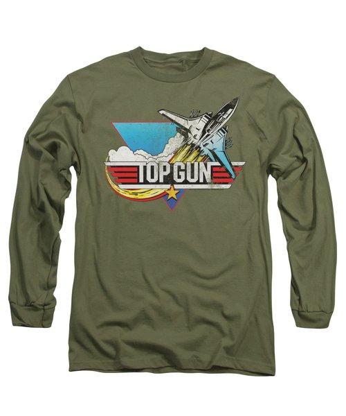 Top Gun - Distressed Logo Long Sleeve T-Shirt by Brand A