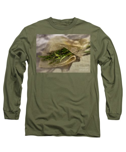 Green Asparagus On Burlab Long Sleeve T-Shirt by Iris Richardson