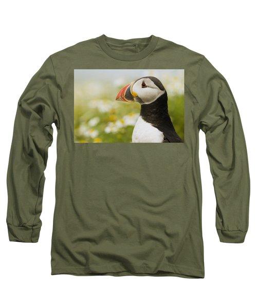 Atlantic Puffin In Breeding Plumage Long Sleeve T-Shirt by Sebastian Kennerknecht