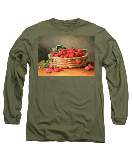 A Still Life Of Raspberries In A Wicker Basket  Long Sleeve T-Shirt by William B Hough